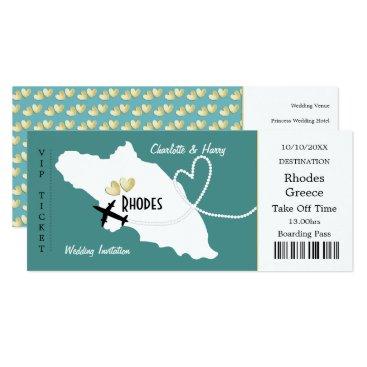 Beach Themed Travel Ticket Boarding Pass Rhodes Greek Wedding Card