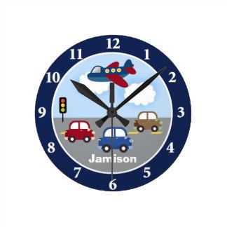 Travel Time Transportation Theme Custom Wall Clock