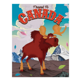 Travel to Canada vintage cartoon poster