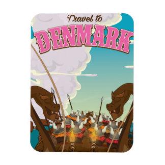 Travel To Denmark Cartoon viking travel poster Magnet