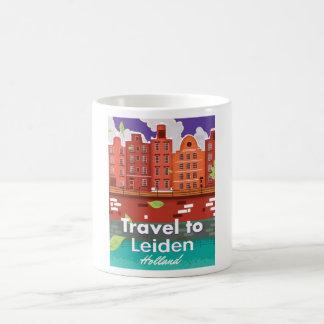 Travel to Leiden Holland cartoon travel poster Coffee Mug