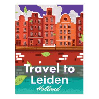 Travel to Leiden Holland cartoon travel poster Postcard