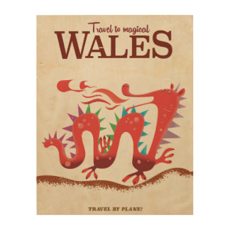 Travel to Magical Wales vintage poster. Wood Print