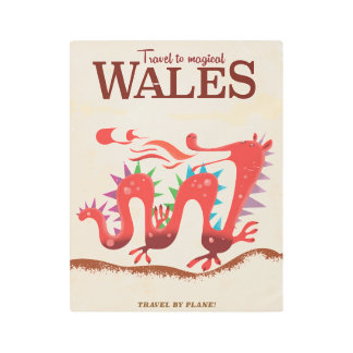 Travel to Magical Wales vintage travel print. Metal Print