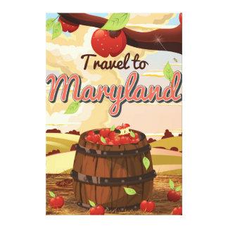 Travel To Maryland travel poster cartoon Canvas Print