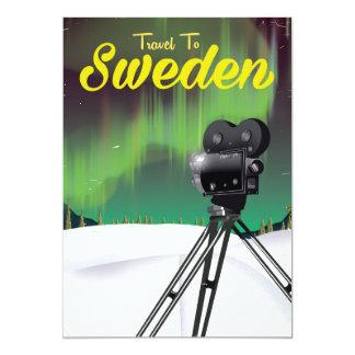 Travel to Sweden Northern lights Camera poster. Card