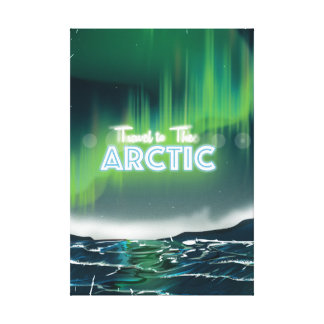 Travel to the Arctic Sci-Fi Travel Poster Canvas Print