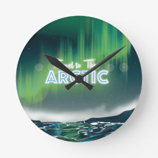 Travel to the Arctic Travel Poster Art Round Clock
