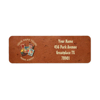 Travel Tours Agency Vintage Postcards Custom Name Label