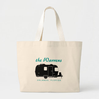 Travel Trailer RV Silhouette Graphic Large Tote Bag