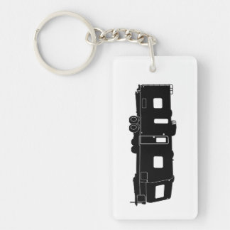 Travel Trailer RV Silhouette on Keychain