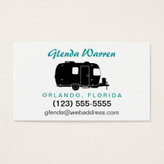 Travel Trailer Rv Silhouette Personal Calling Card at Zazzle