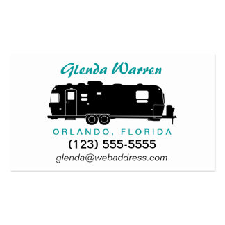 Travel Trailer RV Silhouette Personal Calling Card Double-Sided Standard Business Cards (Pack Of 100)