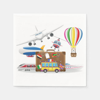 Travel Transport Symbols Paper Napkin
