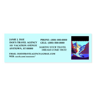 TRAVEL VACATION BUSINESS CONTACT ~ BOOKMARK CARD Double-Sided MINI BUSINESS CARDS (Pack OF 20)