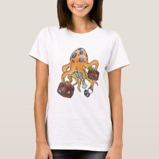 Travel Vacation Cartoon Illustration Funny Octopus T-Shirt