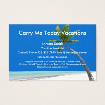 Beach Themed Travel Vacation Specialist Business Card