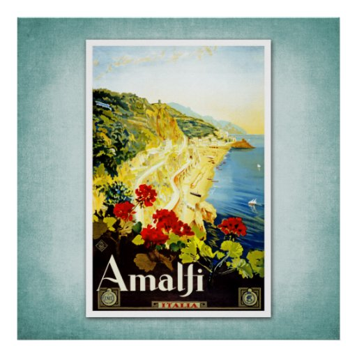Travel Vintage Poster Amalfi Italy
