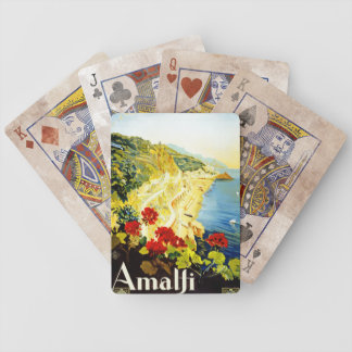 Travel Vintage Poster Amalfi Italy Deck Of Cards