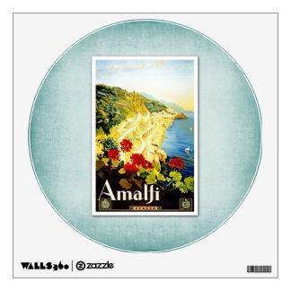 Travel Vintage Poster Amalfi Italy Wall Skin