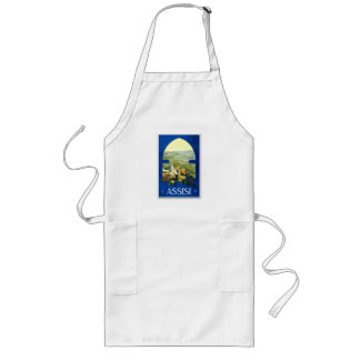 Travel Vintage Poster Assisi Italy Long Apron