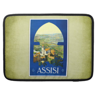Travel Vintage Poster Assisi Italy Sleeve For MacBook Pro