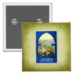 Travel Vintage Poster Assisi Italy Pinback Buttons