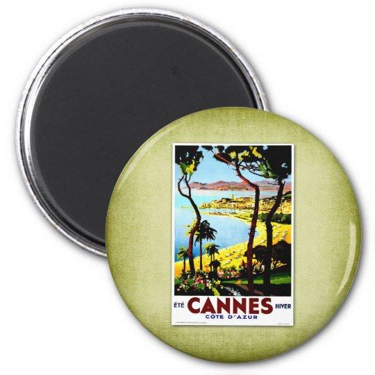 Travel Vintage Poster Cannes France Magnet