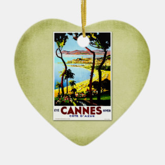 Travel Vintage Poster Cannes France Christmas Ornament