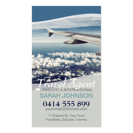 Airplane Wing and Clouds Window Seat Travel Business Cards