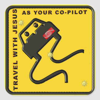 Travel With Jesus As Your Co-pilot Square Stickers