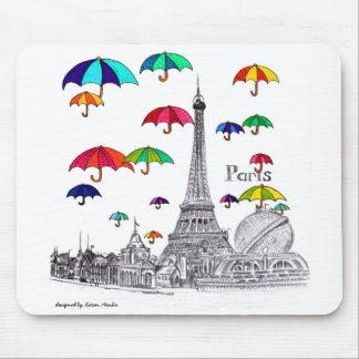 Travel with Umbrellas Paris Effiel Tower Mouse Pad