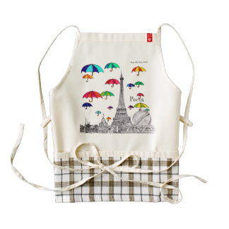 Travel with Umbrellas Sketch Paris Effile Tower Zazzle HEART Apron