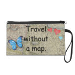 Travel without a map wristlet clutch