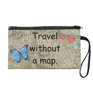 Travel without a map wristlet purse