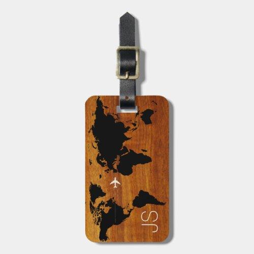 travel wood world_map custom luggage tag