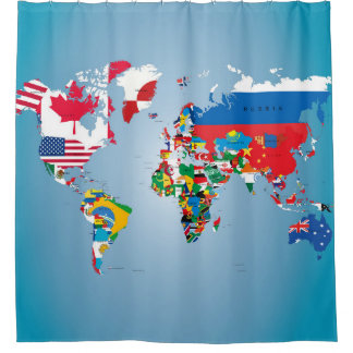 Travel World Globe Flags Map Shower Curtain