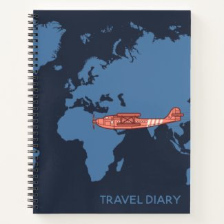 Travel Worldwide Map Vintage Plane Notebook