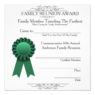 Traveled Farthest Family Reunion Awards Template Card