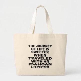 Traveled With A Idahoan Life Partner Large Tote Bag