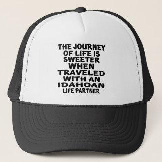 Traveled With A Idahoan Life Partner Trucker Hat