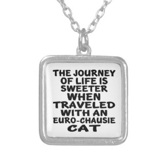 Traveled With Euro-chausie Cat Silver Plated Necklace