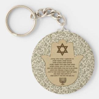 Traveler's Prayer on Hebrew Keychain