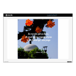 Travelers read the book of the world laptop decal