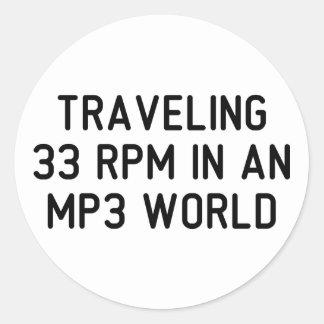 Traveling 33 RPM Classic Round Sticker