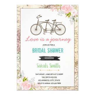 Traveling bike bridal shower invitation