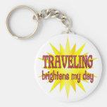 Traveling Brightens My Day Keychains