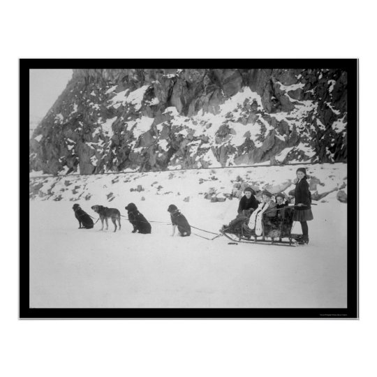 Traveling by Dog Sled Canada 1912 Poster