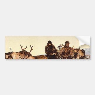 Traveling by reindeer, Archangel, Russia classic P Car Bumper Sticker