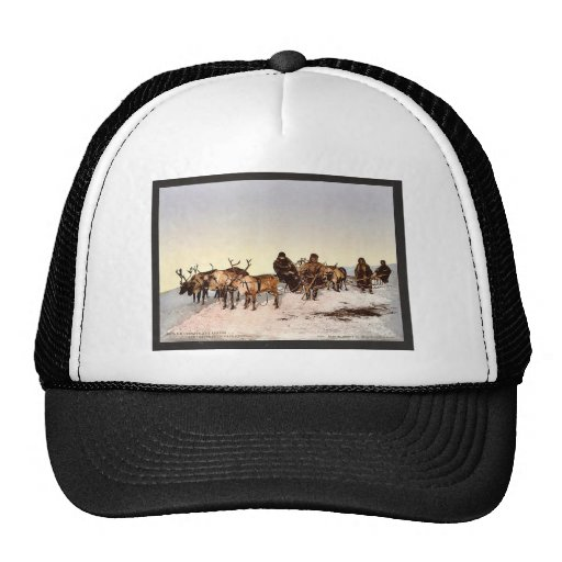 Traveling by reindeer, Archangel, Russia classic P Hats